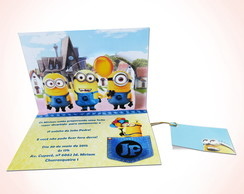 CONVITE MINIONS 3D-POP UP