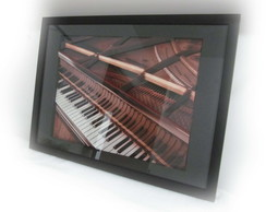 Quadro Decorativo 3d Piano 40x50cm