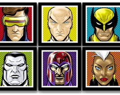 Kit 6 Quadros X-Men Comics Pop Art