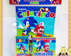 Kit Colorir Massinha Sonic x Mario Bros