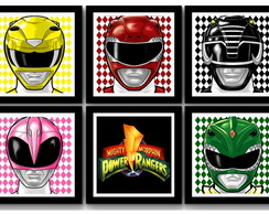 Kit 6 Quadros Power Rangers Pop Art com Moldura e Vidro