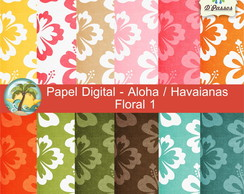 Kit c/ 12 - Papel Digital Aloha Floral 1
