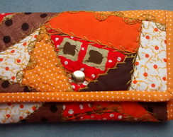 Carteira crazy patchwork