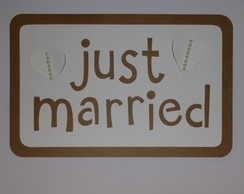 Placa Decorativa JUST MARRIED - kraft