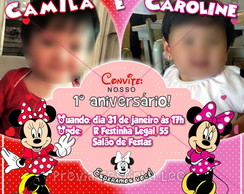 Convite gemêas Minnie virtual