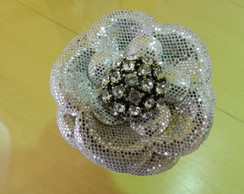 broche prata strass medio