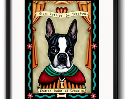 Quadro Santo Boston Terrier com Paspatur