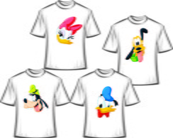 Kit com 4 Camisetas Personalizadas Turma do Mickey