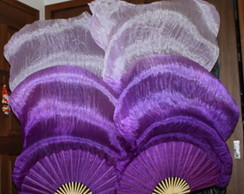 Fan Veu Leque degrade Roxo,Lilas,Branco