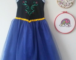 vestido anna do frozen longo