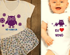 Kit Pijamas adulto e infantil