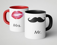 Caneca Dupla Mr. e Mrs.