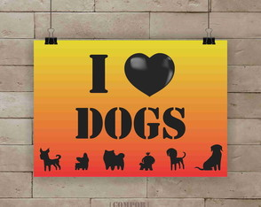 Poster I love dogs A3