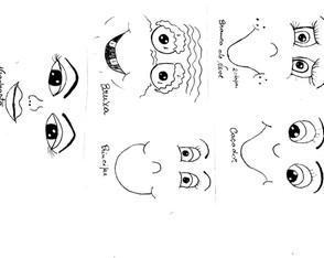 carinhas olhos sobrancelhas bocas nariz para pintar coleção