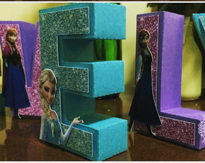 Letra 3D decorada -Frozen