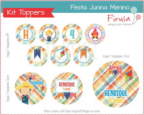 Kit Digital Toppers Festa Junina Menino
