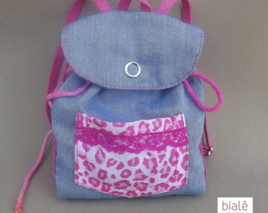 Mochila jeans/oncinha Baby Alives
