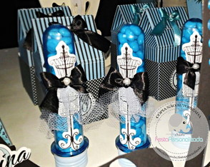 Tubete Paris Azul Tiffany/preto