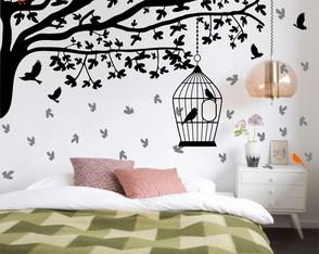 a8cd269c4 Adesivo de parede arvore passarinhos gaiola folhas quarto ...