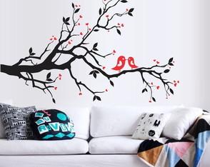 1d4a3a107 Adesivo Decorativo Arvore Galho casal passarinhos corações