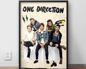 "Poster ""One Direction"" com moldura"