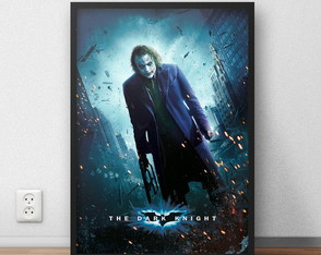 Quadro decorativo Coringa Heath Ledger com moldura e vidro