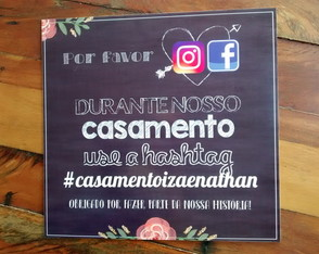 Placa Decorativa Hashtag da festa