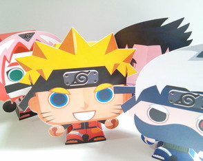 Kit Paper Toy 3D Team 7 Naruto - 4 pers.