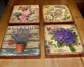 4 Quadros Tela Decorativos Flores
