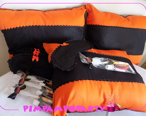 Kit neon preto e laranja festa do pijama