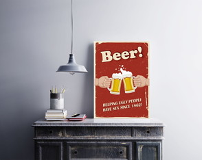 "Placa decorativa ""Beer Helping Ugly"""