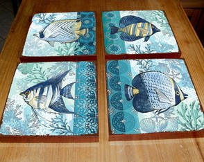 4 Quadros Tela Decorativos Peixes Tropicais