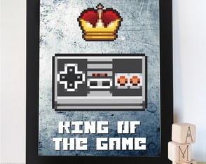 Quadro Vintage Gamer King of the Game