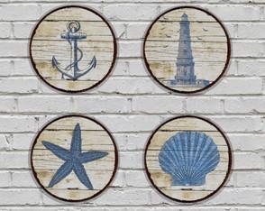 4 Placas Redondas Decorativas Praia