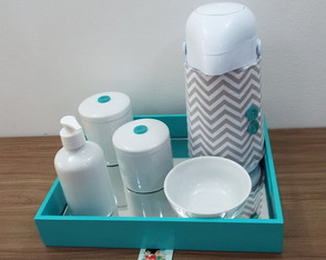 Kit Higiene Chevron Cinza & Tiffany BE31