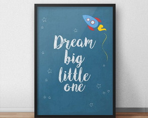 Quadro Dream Big - Foguete - A4
