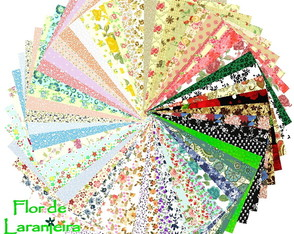 Kit Tecidos Estampado Floral Patchwork