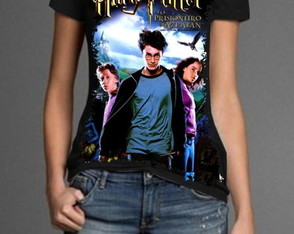Camiseta sublimada preta Harry Potter
