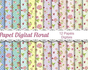 Kit Papel Digital Floral 12 Papéis.