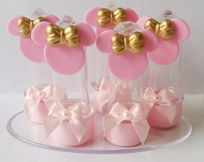 Mini tubete Minnie rosa e dourado