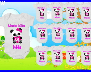 Kit Body Mesversario Panda c/12