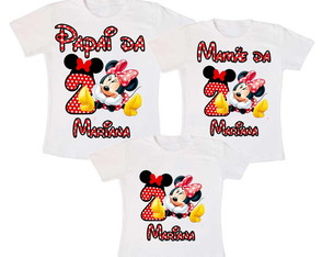 Kit 3 Camiseta Minnie Vermelha