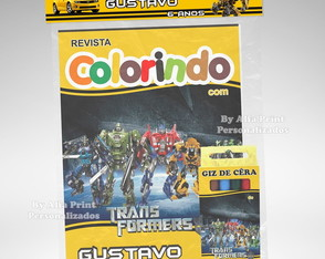 Kit Colorir Transformers + Brindes