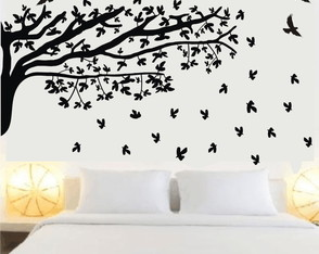 b1983a3b6 Adesivo de parede para quarto de casal árvore folhas caindo