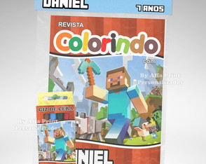 Kit Colorir Minecraft + Brindes