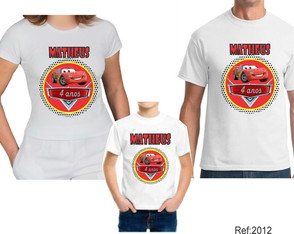 kit 3 Camisetas Carro Macqueen com Nome