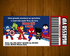 Convite super herois cute,baby tm/14x6,5