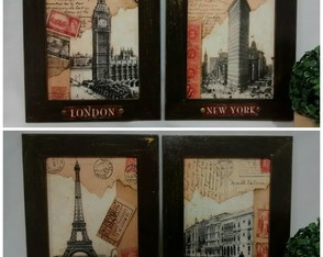 Conjunto 4 Quadros Decorativos Paris London York Pátina Ouro