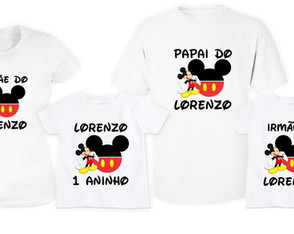 KIT 4 Camisetas Personalizadas Mickey