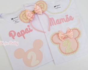 kit Camisetas papai e mamãe Minnie Rosa